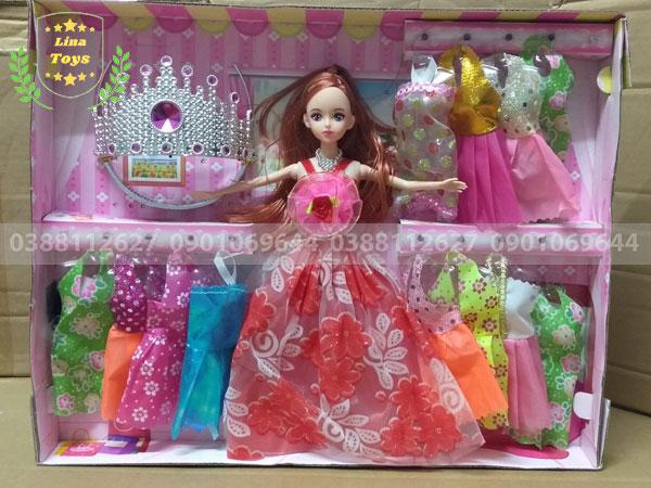 Bộ đồ chơi búp bê công chúa 12 áo-vương miện