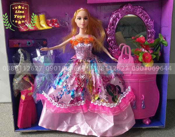 Búp bê barbie 3 áo tủ trang điểm + kiếng