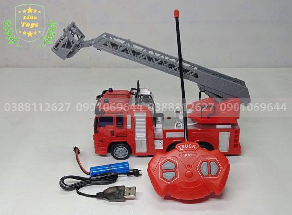 Xe cứu hỏa điều khiển từ xa chạy pin sạc