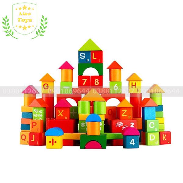 Đồ chơi xếp hình khối bằng gỗ